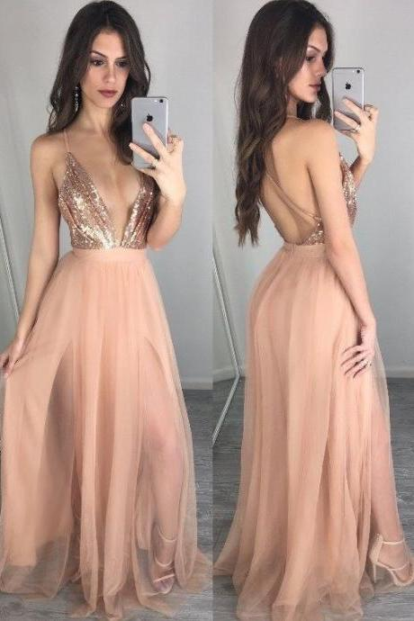 champagne prom dress,floor length prom dress,tulle formal dress,long evening gowns