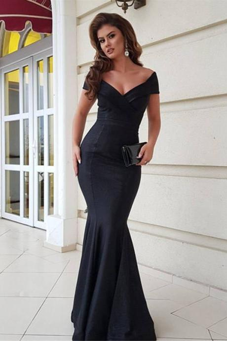 black evening gowns,mermaid prom dress,v-neck prom dress,long evening dress,long formal dress