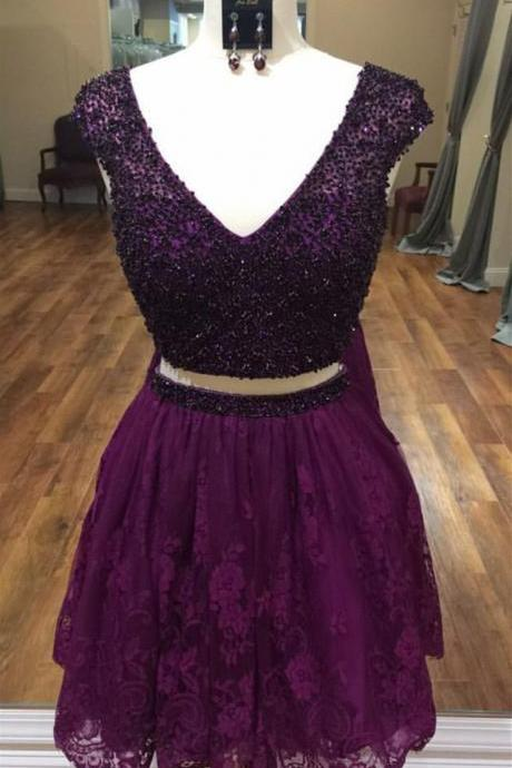 two piece homecoming dress,short prom dresses 2017,two piece prom dress,beaded cocktail dress