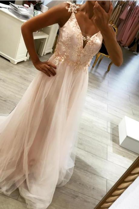 elegant prom dress lace appliques,pink prom dress,long evening gowns,backless bridesmaid dresses
