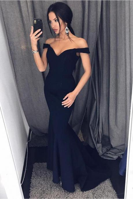 Off Shoulder Bridesmaid Dresses,Navy Blue Bridesmaid Dresses,Sexy Long Evening Gowns,Mermaid Prom Dresses 2017