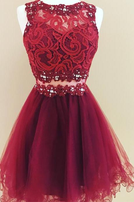 Lace Homecoming Dress,Ruffles Dress,Short Prom Dresses 2017,Elegant Cocktail Dress,Burgundy Homecoming dresses