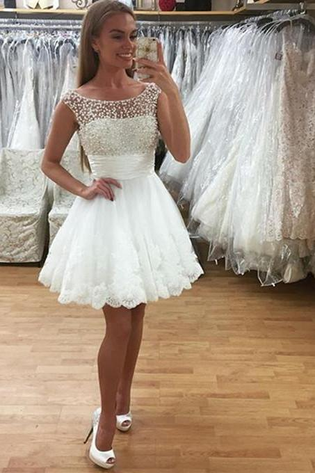 white prom dresses,lace homecoming dress 2017 ,short prom gowns,lace cocktail dress,pearl beaded wedding dress short