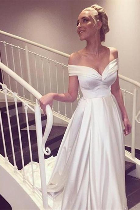 Custom Made White Off Shoulder Satin Wedding Dress, Prom Dresses, Evening Wear