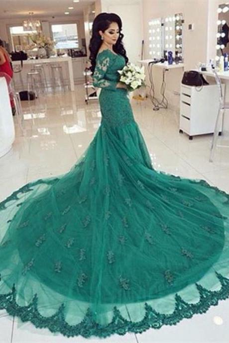 green lace mermaid evening dresses,long sleeves prom dresses 2016