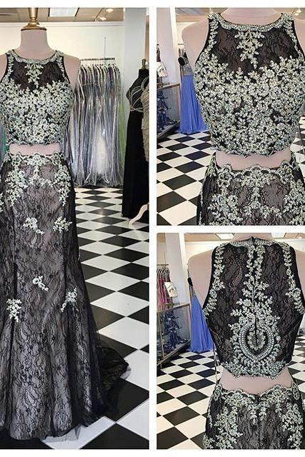 Black Mermaid Prom Dresses,Lace Prom Dresses,Mermaid Evening Dresses,Prom Dresses 2016,Two Piece Prom Dresses
