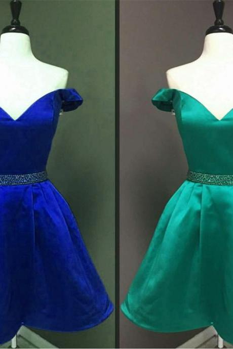 Royal Blue Homecoming Dresses, V Neck Prom Short Dresses,Elegant Cocktail Dress,Semi Formal Dresses