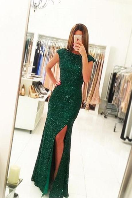 Green Prom Dress,Sequins Prom Dress ,Long Mermaid Evening Dress Backless , Sexy Slit Prom Gowns 2016