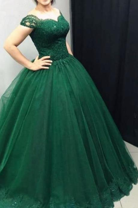 Emerald Green Prom Dresses Ball Gowns,Tulle Prom Dresses Lace Off Shoulder,Sweet 16 Dress,Ball Gowns Quinceanera Dresses