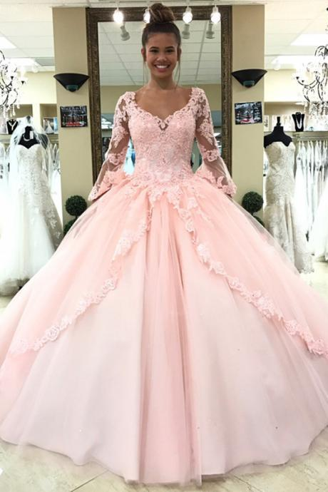 Pink Quinceanera Dress,Long Sleeves Quinceanera Dress,Sweet 16 Dress,Ball Gowns Prom Dresses