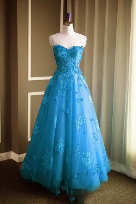 Ice Blue Strapless Sweetheart Floral Appliqués A-line Long Prom Dress, Evening Dress Featuring Lace-Up Back