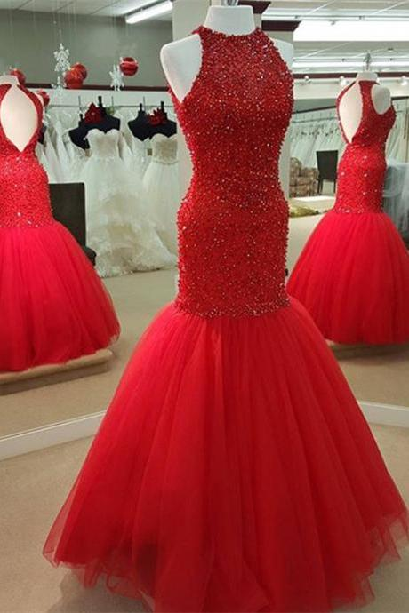 Red Mermaid Prom Dresses Beaded Long Open Back Evening Gowns 2016 Sexy