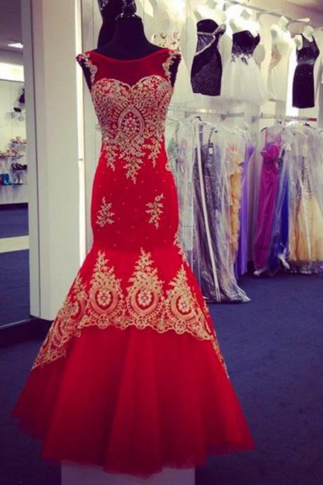 Red Mermaid Evening Dresses Gold Lace Appliques Cap Sleeves Prom Gowns 2017