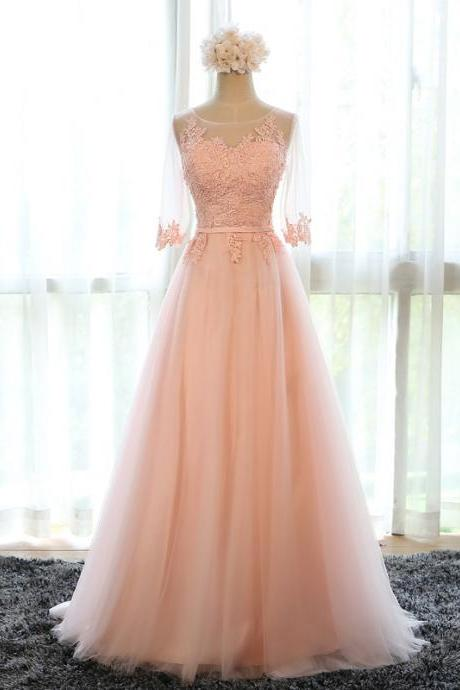 Pink Long Chiffon A-Line Evening Gown Featuring Sweetheart Illusion Quarter Sleeve Bodice with Floral Lace Appliqué