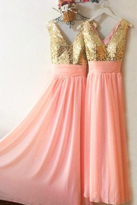Gold Sequins Long Chiffon Pink Bridesmaid Dresses 2016 Sparkly Evening Party Prom Gowns