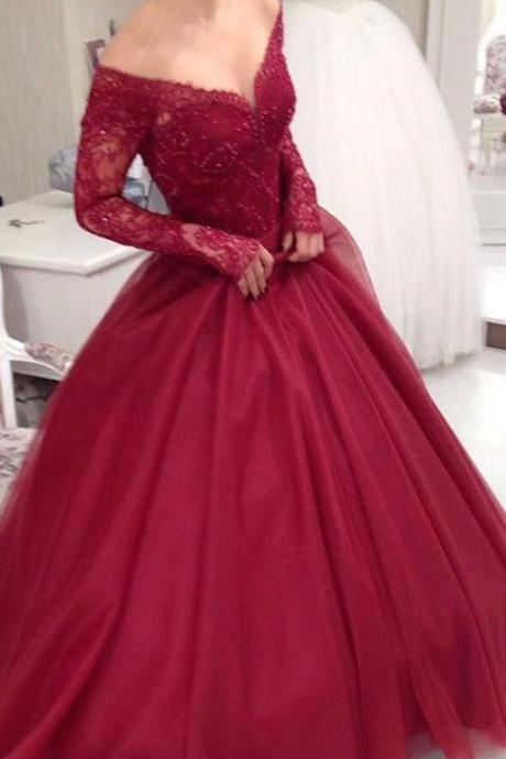 Burgundy Lace Off-The-Shoulder Plunge V Long Sleeves Floor Length Tulle Wedding Gown