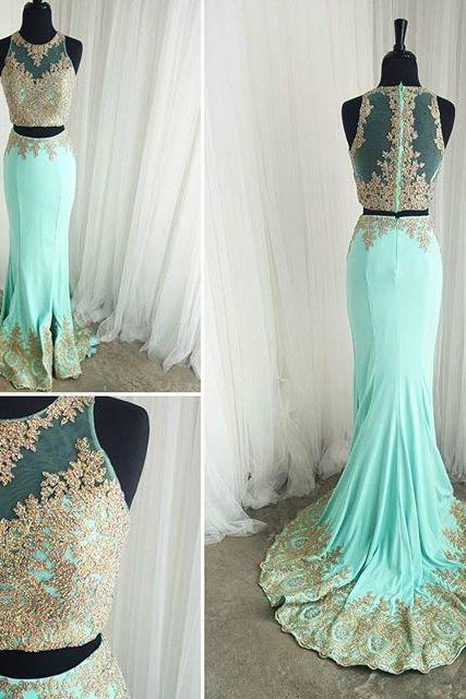 Mint Prom Dresses Gold Lace Appliques Mermaid Formal Evening Gowns 2016 Elegant Two Piece Prom Dresses