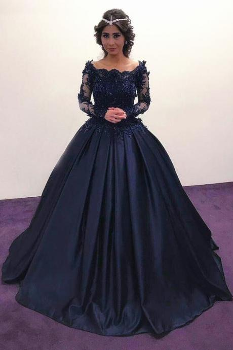 Navy Blue Prom Dresses,Long Sleeves Prom Dresses,Long Sleeves Engagement Dress,Vintage Wedding Dresses 2017