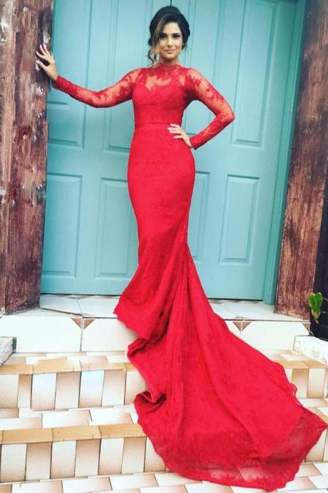 High Neck Long Sleeves Lace Mermaid Evening Dresses Red Prom Gowns