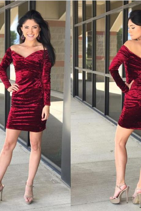 Off Shoulder Cocktail Dress,Velvet Homecoming Dresses,Long Sleeves Homecoming Dress,Short Prom Gowns