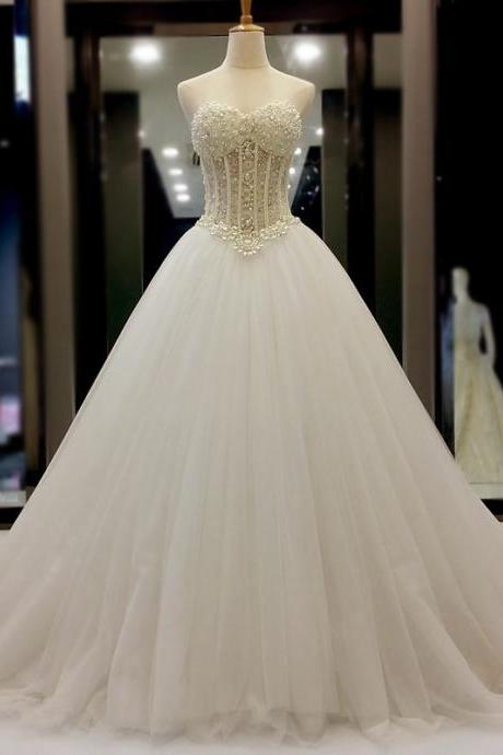 Pearl Embellished Sweetheart Floor Length Tulle Wedding Gown