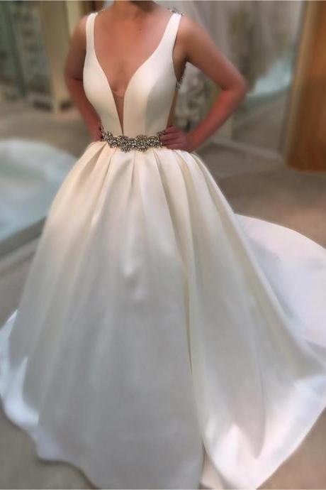 Deep V Neck White Satin Ball Gowns Wedding Dresses 2017 Vintage Bridal Gowns