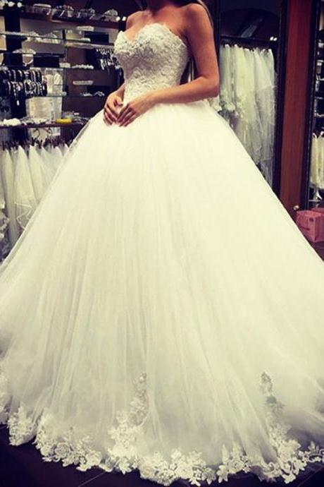 Sweetheart Lace Ball Gowns Wedding Dress,Princess Bridal Dress,2016 Wedding Gowns