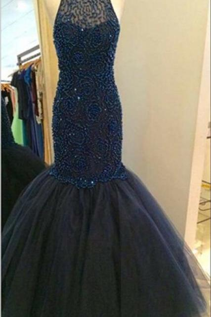 Stunning Beaded Halter Navy Blue Prom Dresses Mermaid Evening Gowns 2016 Pageant Dress