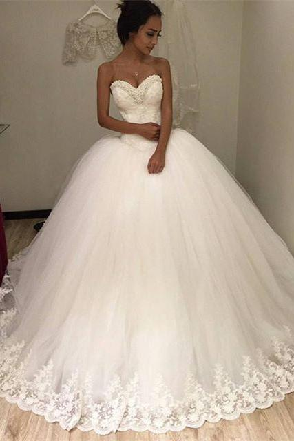 pearl beads sweetheart ivory lace ball gowns wedding dress 2016 romantic style