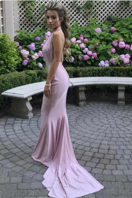 Open Back Mermaid Dress,Halter Bridesmaid Dress,Light Pink Evening Gowns,Mermaid Prom Dress