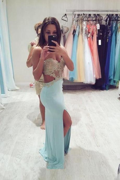 lace beads sweetheart side slit jersey mermaid prom dress 2016 formal evening party dress