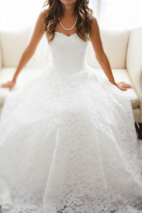 White Lace Princess Wedding Dresses 2016 Sweetheart Bridal Gowns