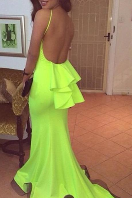 lime green open back long jersey mermaid prom dresses 2016 sexy evening gowns