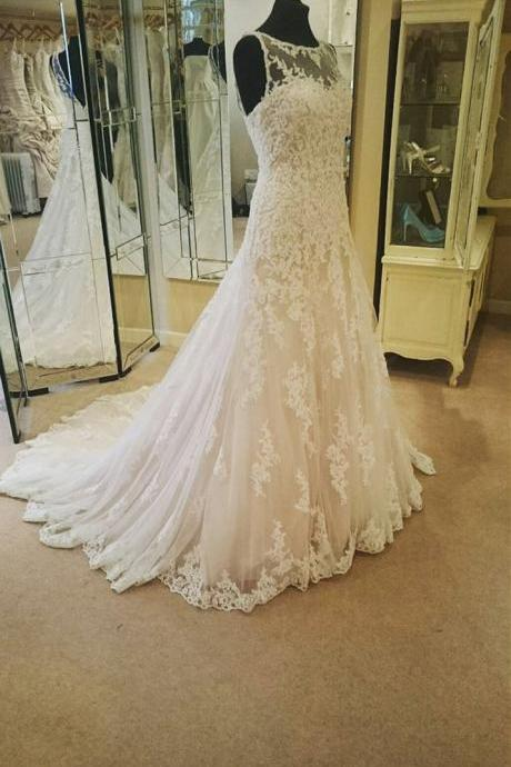 Illusion Neckline Ivory Lace Backless Wedding Gowns 2016 Princess Wedding Dress For Bride
