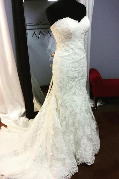 Sexy Strapless Sweetheart White Lace Mermaid Wedding Dress 2016 Bridal Wedding Gowns