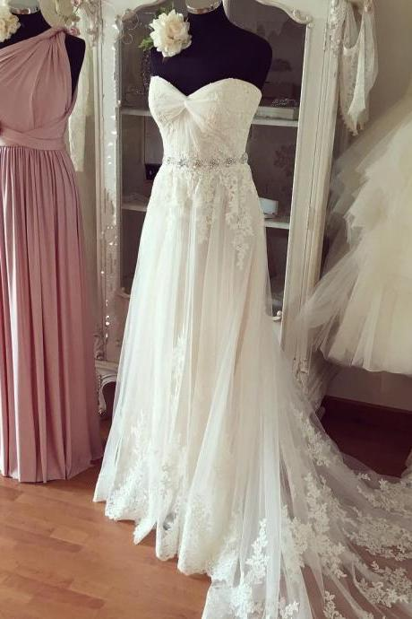 Pleated Sweetheart Lace Appliques Beach Wedding Dresses 2016 Boho Wedding Gowns