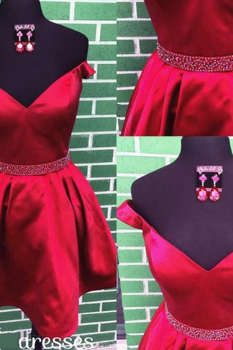 Burgundy Homecoming Dresses,Short V Neck Prom Dresses,Off Shoulder Cocktail Dresses
