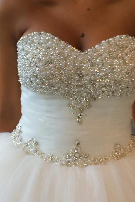 pearl and crystal beaded sweetheart princess ball gown wedding dresses 2016