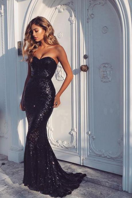 black prom dresses,sequin prom dresses,mermaid evening dress