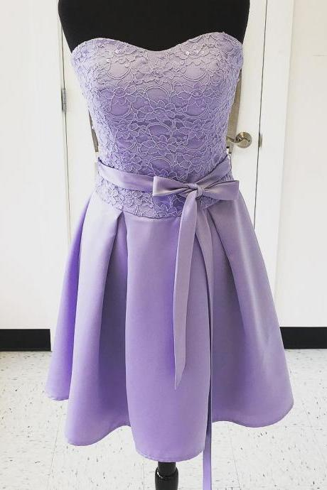 Lavender Short A-Line Bridesmaid Dress Featuring Lace Sweetheart Bodice with Bow Accent Belt