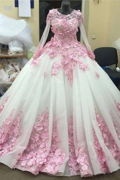 pink flower long sleeves organza ball gown wedding dresses 2016