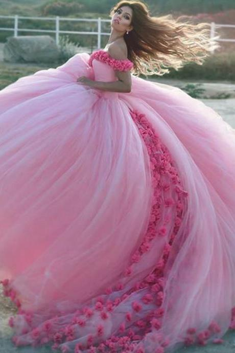 Flower Wedding Ball Gown Dresses,Pink Wedding Dresses,Wedding Photography Dress