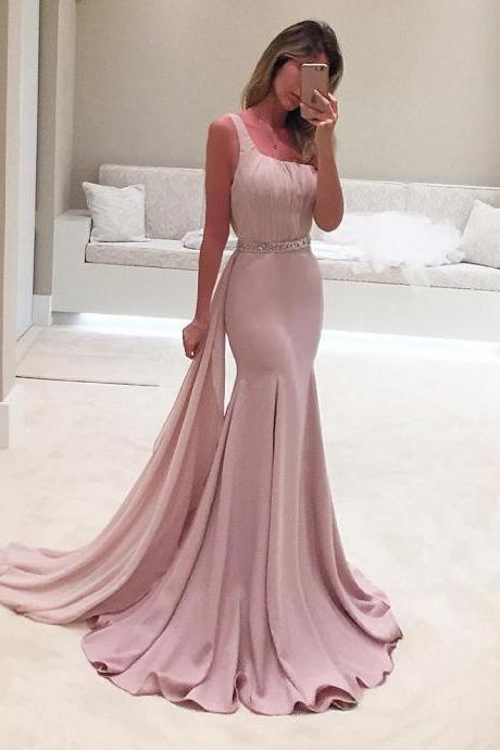 one shoulder bridesmaid dresses,light pink prom gowns,mermaid evening dresses,sexy long evening dress