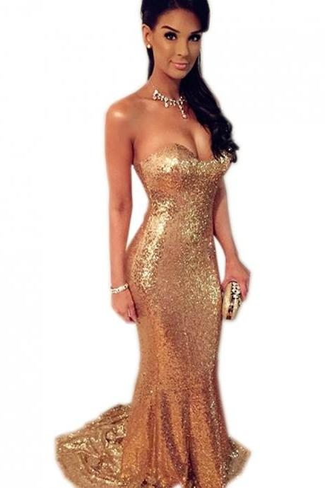 red sequin mermaid prom dress,long evening gowns,elegant prom dress,champagne prom dress