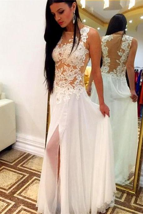 white chiffon see through nude back prom dress with slit 2016 new arrival