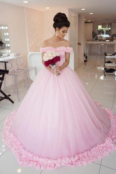 Flower wedding dress,pink wedding dress,ball gown wedding dress,wedding dress 2016,elegant wedding dress,pink quinceanera dress
