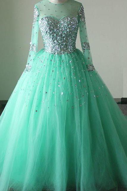 real sample, custom made ,mint green prom dresses,long sleeves prom dress,ball gown quinceanera dress 2016