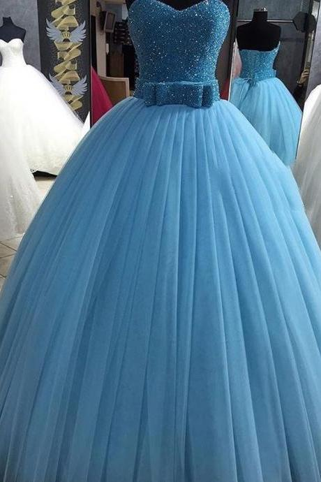 sequin beaded sweetheart bow sashes tulle ball gown quinceanera dresses 2016