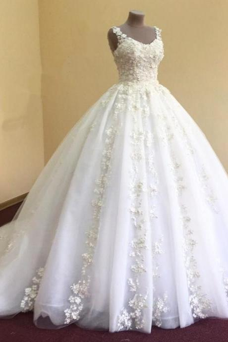 real photo elegant lace appliques v neck white organza ball gowns wedding dress 2017