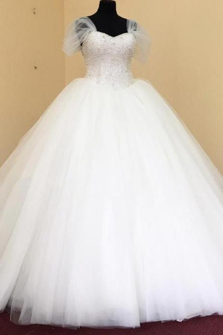 pearl beaded sweetheart white organza ball gowns wedding dress with jackets 2017